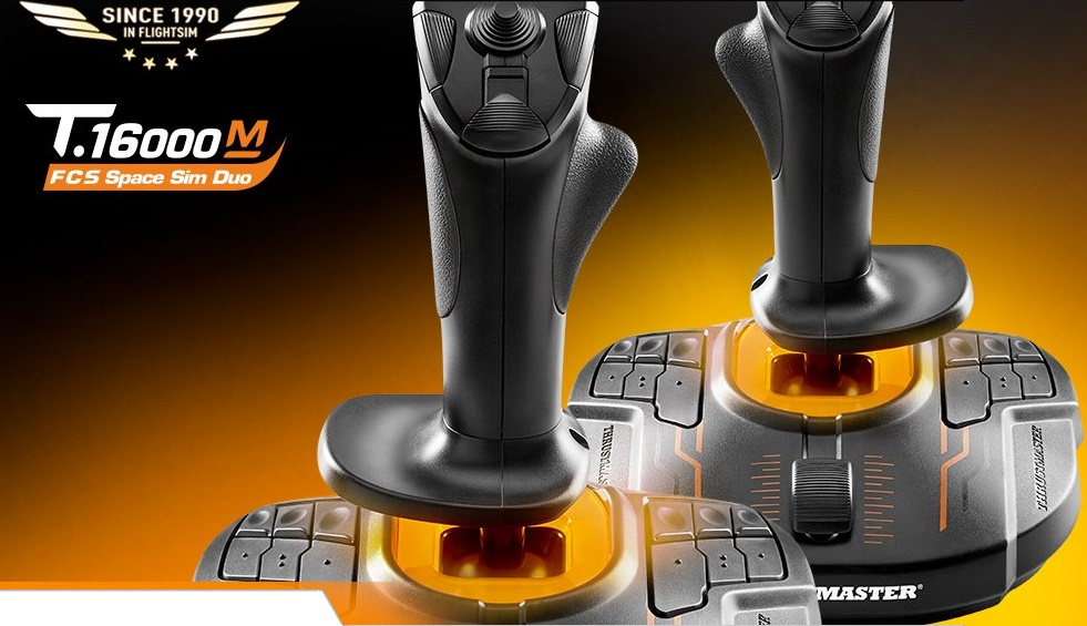 NEW Thrustmaster Dual T 16000M FCS Joystick Space Sim Pack For PC  Ambidextrous