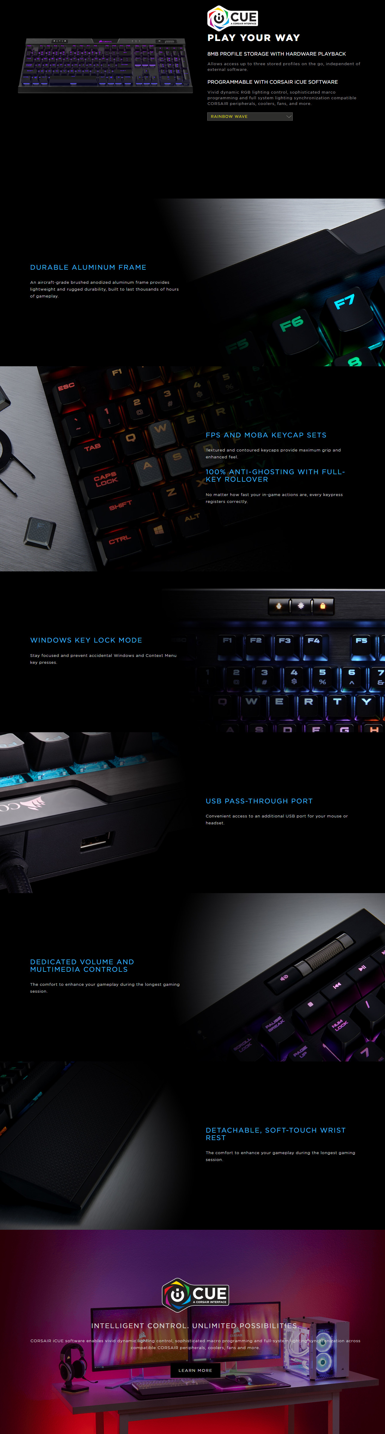 NEW Corsair K70 RGB MK.2 Mechanical Gaming Keyboard Cherry MX Silent  Backlit USB – PCLIVE Computer