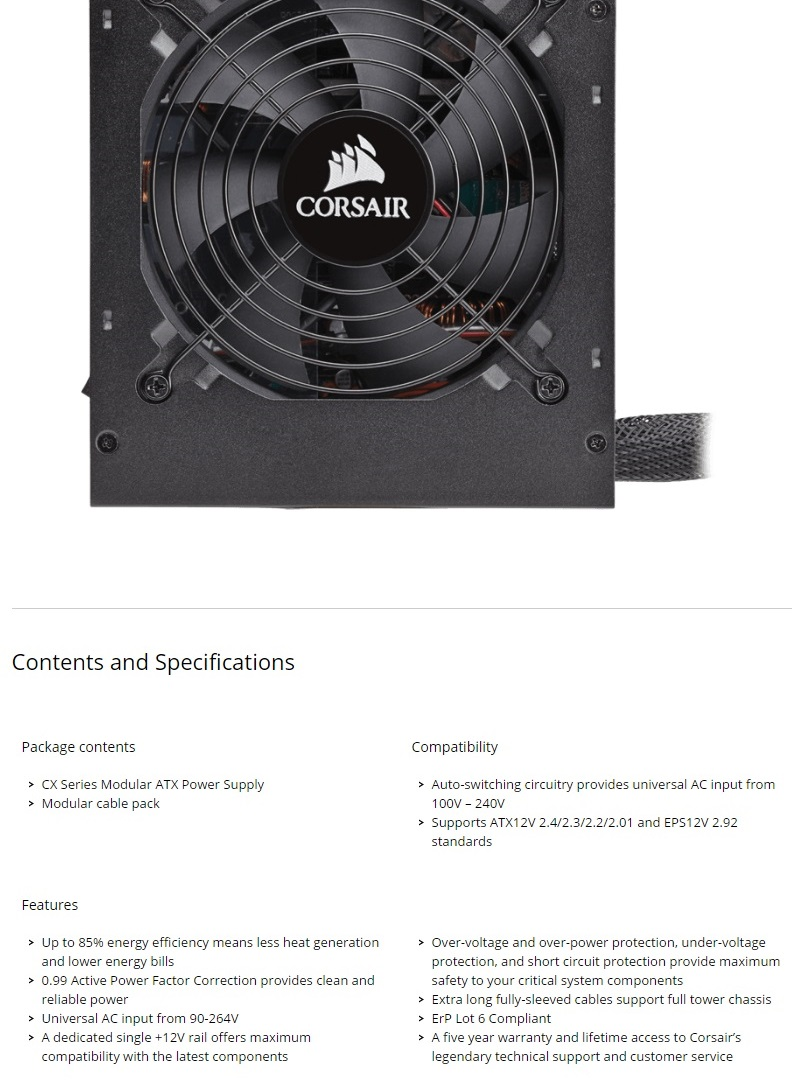 Corsair Cx550m 550w Gaming Power Supply Modular 80 Plus Bronze Psu Vs Series Vs550 550 Watt White Certified The Cabling System Lets You Use Only Cables Need Get To Save Space And Reduce Clutter For A Cleaner Looking Build Improved Airflow