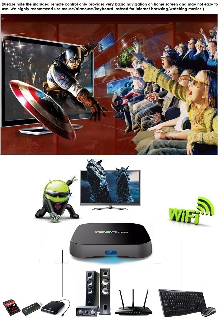 T95R PRO Octa Core Android TV Box 2GB 16GB + Air Mouse KODI Media Player 4K  HDMI
